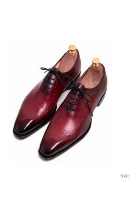 Handmade Leather Maroon Patina Classic Oxfords for Men Custom dress shoe (SB)