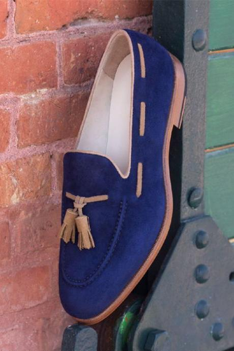 Handmade Blue Suede Tassel Loafers for Men Custom Made Slip on for Men (SB)