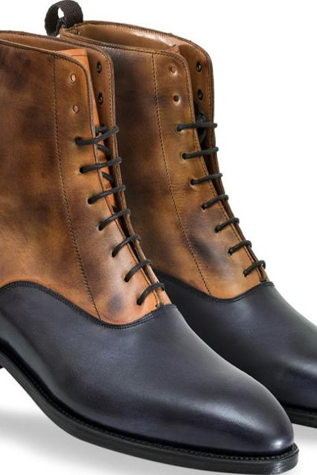 Handmade Two Tone Ankle High Boots for Men Custom Made Boots for Men (SB)