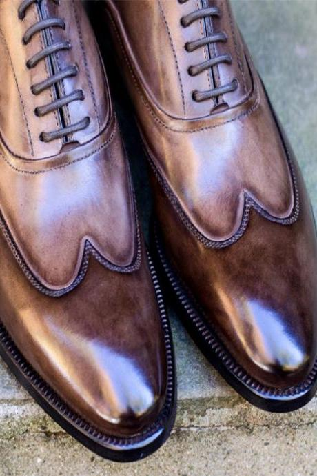 Handmade leather lace up dress shoes custom dress shoes for men (SB)