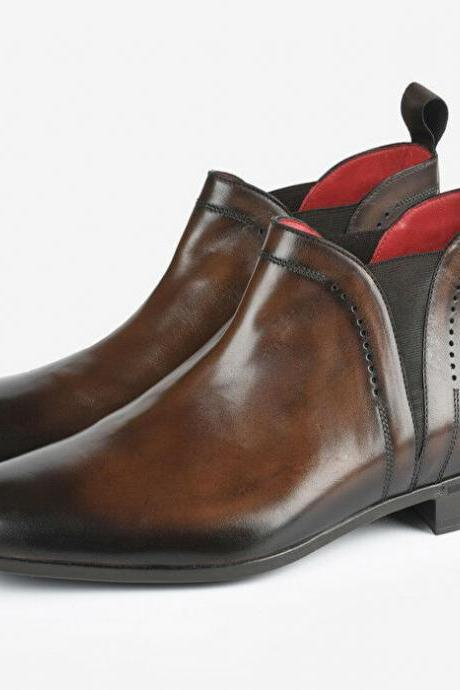 Handmade Brown Two Tone Ankle Boots for men custom leather shoe for men (SB)