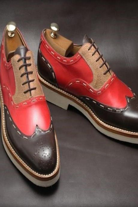 Handmade Men Custom Leather Brogue Suede plain combo leather Top Quality (SB)