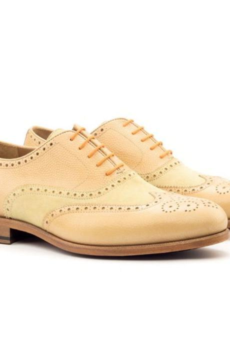 Handmade Men Fawn Leather Wingtips for Men Custom Made Brogues for Men (SB)