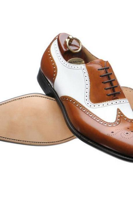 Handmade leather shoes for men Two tone leather shoes custom made (SB)