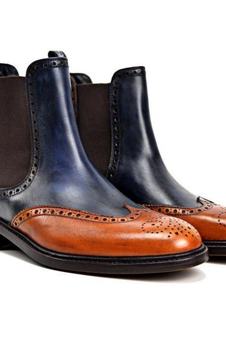 Handmade Two Tone Patina Ankle High boots for men custom leather shoe (SB)