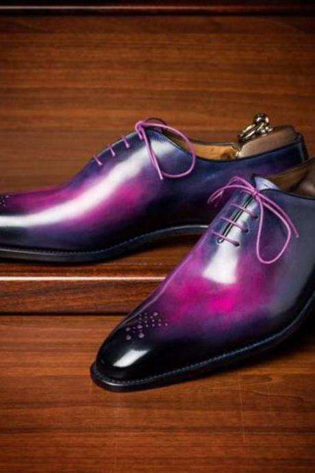 Handmade Leather Purple Patina Oxfords for Men Custom men formal dress shoe (SB)