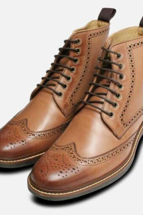 Handmade Brown Leather Men Ankle high boots custom Two Tone shoes (SB)