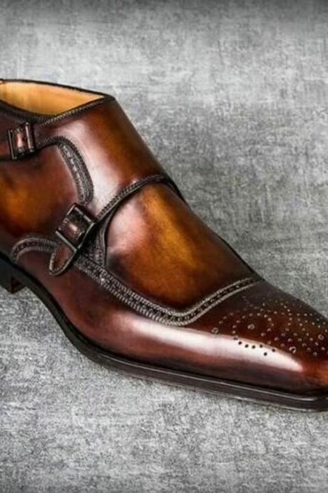 Handmade Cognac Patina Ankle High Boots for men custom leather shoe for men (SB)