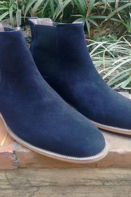Handmade Men Leather Navy Suede Chelsea Boots Custom Made FREE Personal (SB)