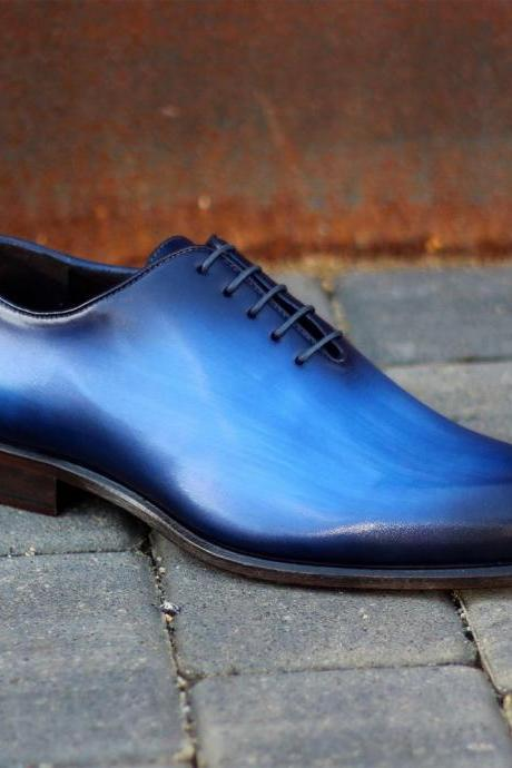 Handmade Blue Patina Whole Cut Oxfords for Men Custom Made Oxfords for Men (SB)