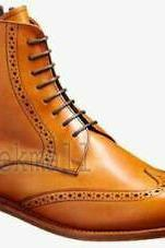 Handmade Women's Leather Oxford Brogue Boots,Formal Ankle Boots