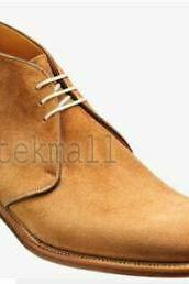 Handmade Men Genuine Formal Suede Ankle Three Rings Jodhpur Derby Boots (SB)