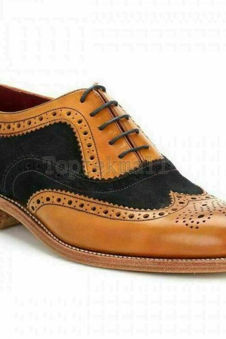 Handmade Men Two Tone Wingtip Tan Leather & Black Suede Brogue Oxfords (SB)