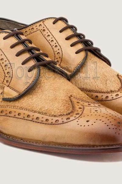 Handmade Men's Leather CAMEL OXFORD BROGUE CLASSIC WINGTIP LACE UP SHOES-6