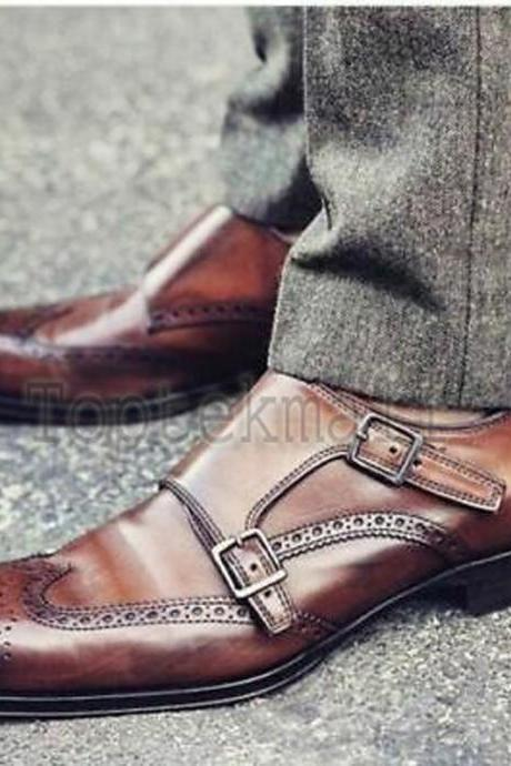 Handmade Men's Leather Brown Double Monk Strap Oxford Brogue Wingtip Shoes-12