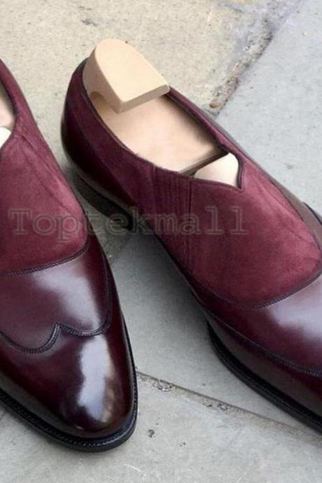 Handmade Men's Leather Two Tone Burgundy Loafer Fashion Party Moccasin Shoes-20