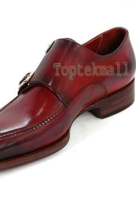 Handmade Men's Leather Genuine Dress Maroon Double Monk Straps Stylish Shoes-85