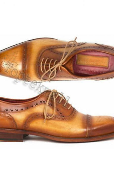 Handmade Men's Leather CASUAL TWO TONE TAN BROWN OXFORD CAP TOE SHOES-120