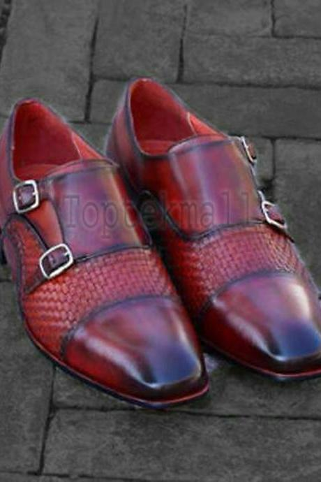 Handmade Men's Leather Double Monk Woven Burgundy Leather Cap Toe Shoes-128