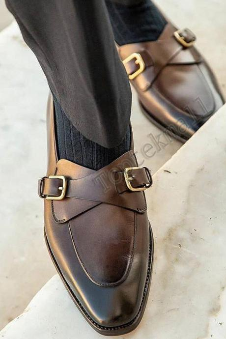 Handmade Men's Leather Double Monk Straps Two Tone Brown Formal Shoes-130