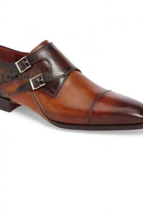 Handmade Men's Leather Double Monk Brown Formal Dress Casual Burnished Shoes-138