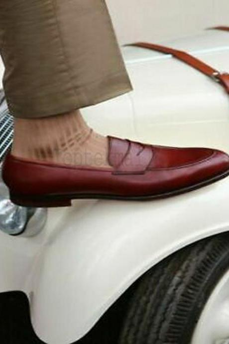Handmade Men's Leather Burgundy Loafer and Slip On Dress Casual Formal Shoes-158