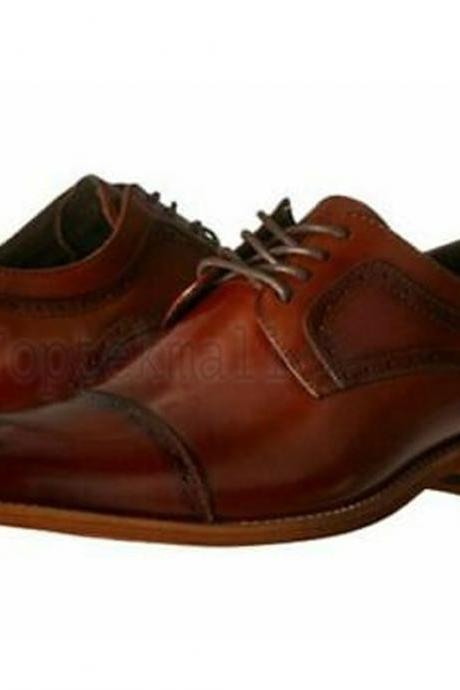 Handmade Men's Leather Cap Toe Oxfords Wingtip Cognac Dress New Brogue Shoes-164