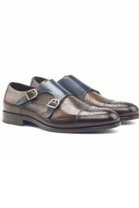 Handmade Men's Leather Blue Patina Double Monk Straps Custom Dress New Shoes-178