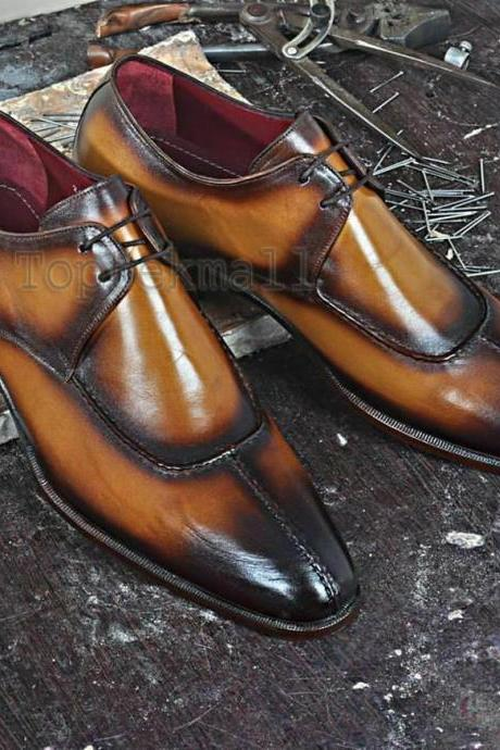 Handmade Men's Leather Tan Color Formal Dress Classical Burnished Toe Shoes-201