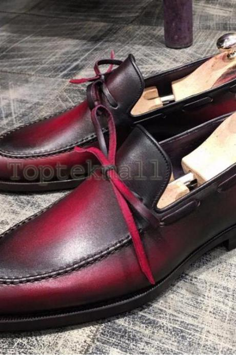Handmade Men's Leather Burgundy Loafers Slip Ons Spring Casual Stylish Shoes-220
