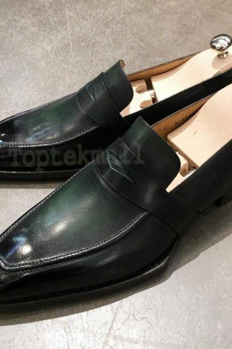Handmade Men's Leather Luxury Fashion Black Loafer Slip On Moccasins Shoes-228