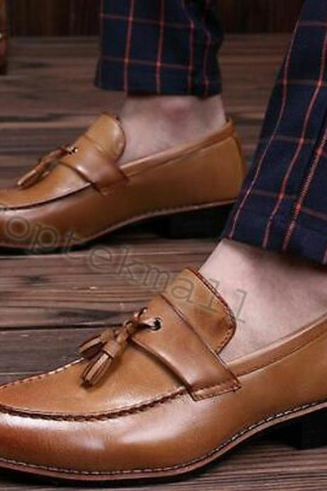 Handmade Men's Leather Tan Tassel Loafers Autumn Fringed Casual New Shoes-244