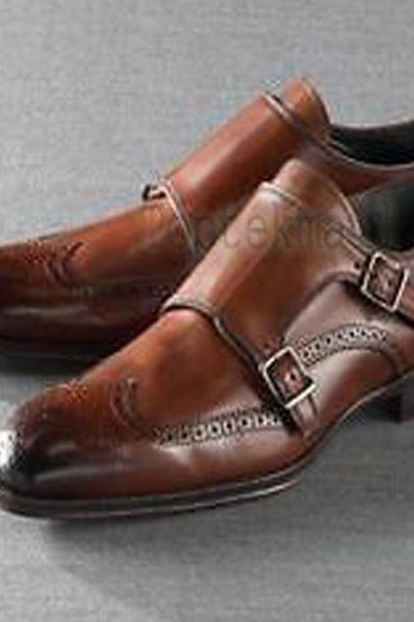 Handmade Men's Leather Fashion Stylish Monk Double Strap Dress Formal Shoes-302