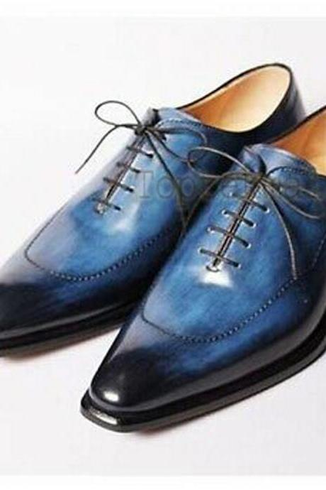 Handmade Men's Leather New Oxfords Blue Burnished Pointed Toe Wingtip Shoes-310