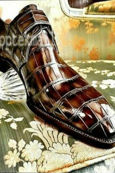 Handmade Men's Leather Crocodile Print Monk Strap Formal Stylish Dress Shoes-339