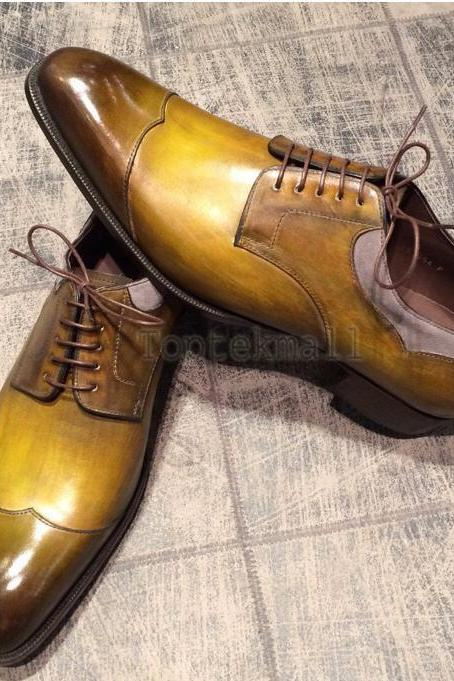 Handmade Men's Leather Oxfords Tan Brown Formal Dress Wingtip Stylish Shoes-344