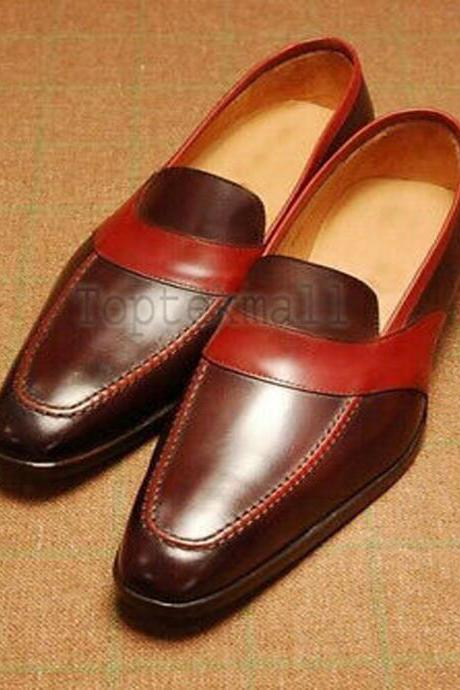 Handmade Men's Leather Casual Fashion Maroon Loafer Slip On Moccasins Shoes-383