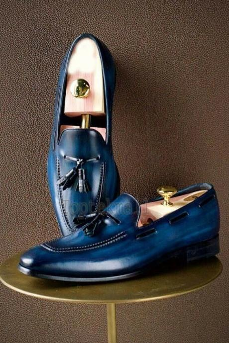 Handmade Men's Leather Dress New Blue Color Tussles Slip On Loafer Shoes-474
