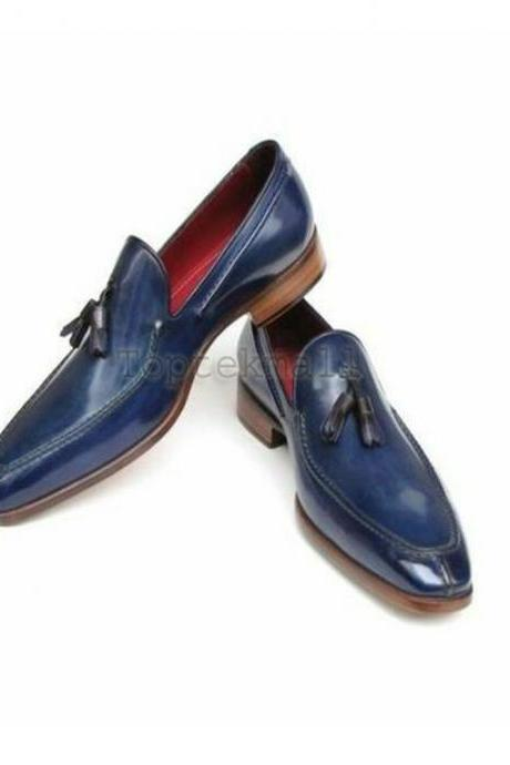 Handmade Men's Leather Dress Luxury Fashion Blue Spring Tassel loafer Shoes-499