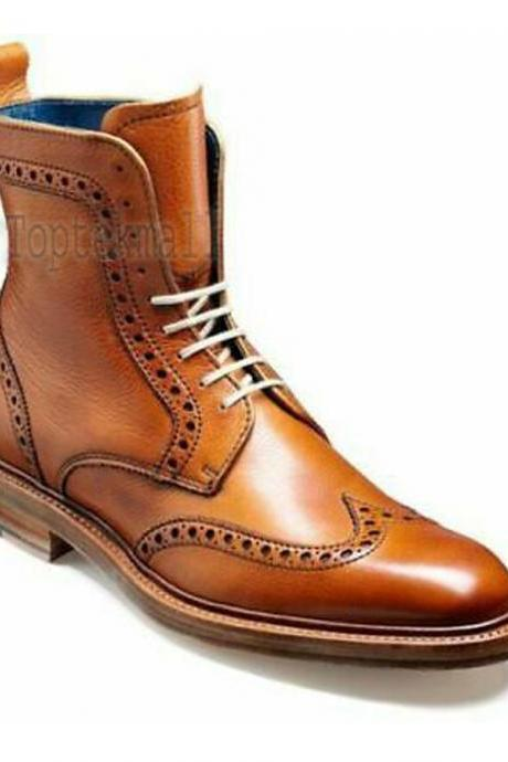 Handmade Men's Leather Fashion Tan Color Rounded Cap Toe Ankle High Boots-541