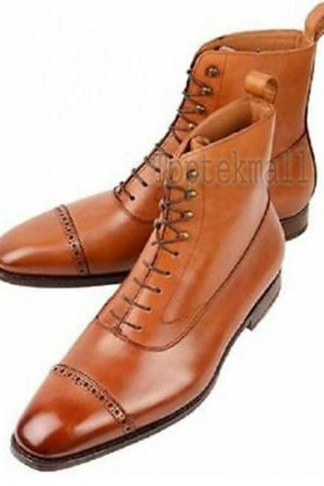 Handmade Men's Leather Fashion Derby Tan Color Lace up Ankle High Boots-542