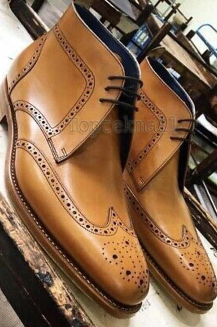 Handmade Men's Leather Tan Wing Tip Brogue Leather Ankle High Chukka Boots-543