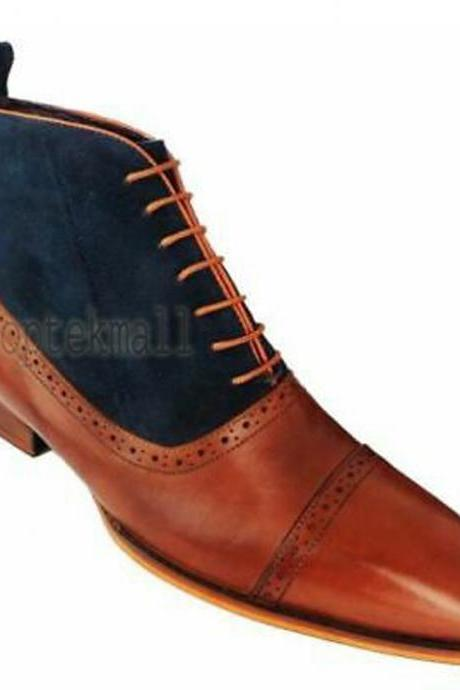 Handmade Men's Leather New Two Tone Tan And Blue Oxford Ankle High Boots-547
