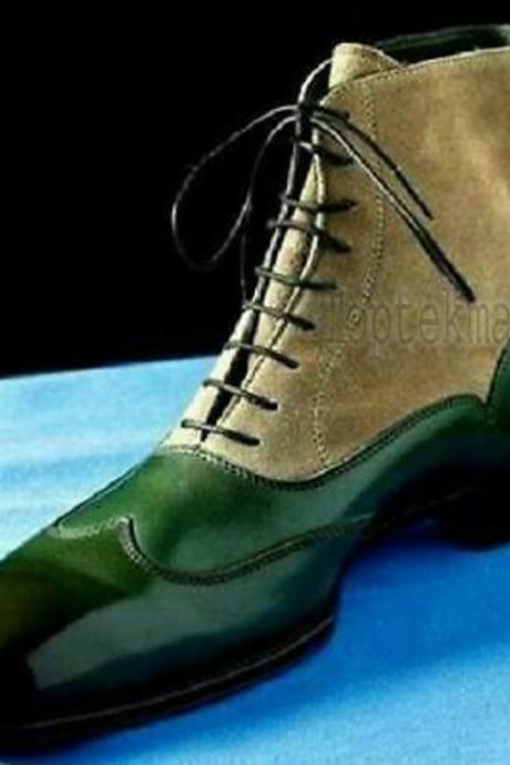 Handmade Men's Leather CASUAL GREEN BEIGE CAP TOE Ankle High Shoes Boots-548