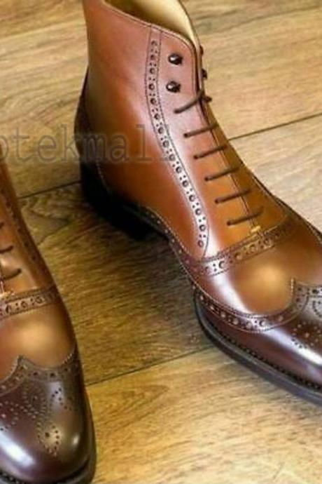 Handmade Men's Leather Brown Dress New Ankle Oxford Brogue Chelsea Boots-558