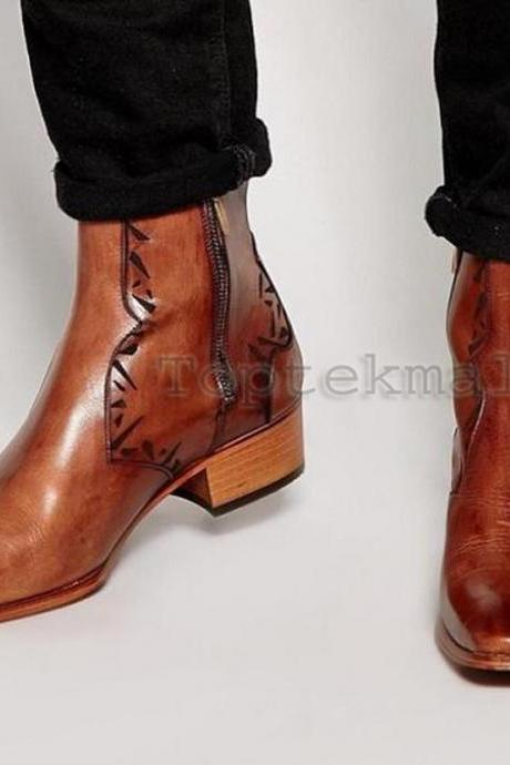 Handmade Men's Leather Tan Unique Chelsea Ankle Dress Formal Casual Boots-559