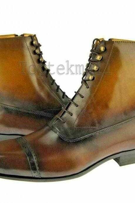 Handmade Men's Leather Tan Dress Ankle High Casual Formal Winter Boots-566