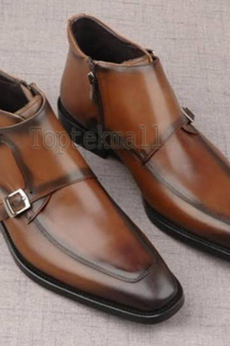 Handmade Men's Leather Apron Toe Chukka Brown Classic Double Strap Boots-567