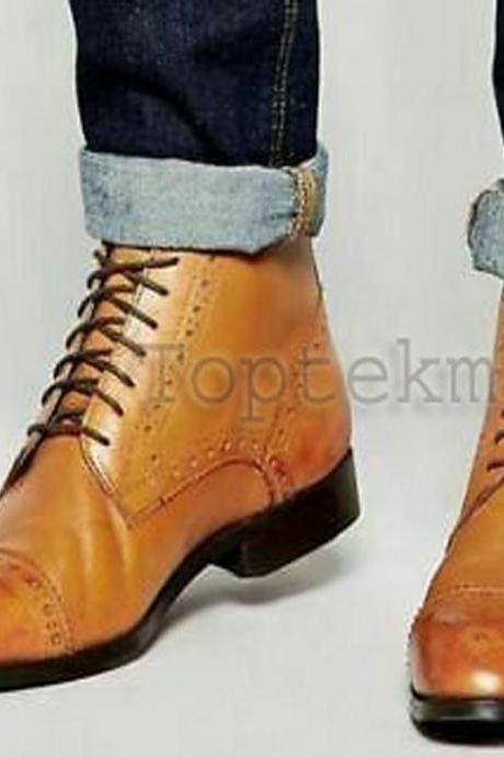 Handmade Men's Leather CASUAL TAN ANKLE BOOT Stylish Formal Boots-573