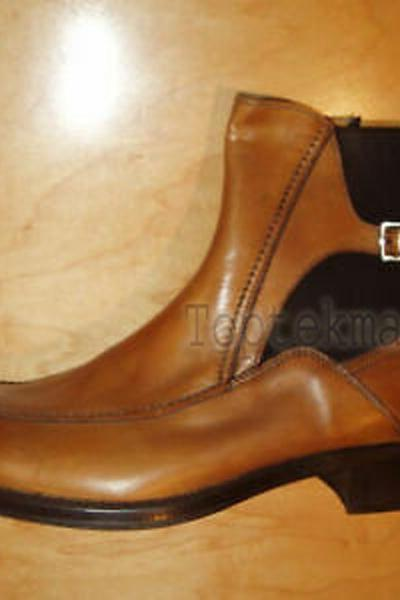 Handmade Men's Leather BROWN TAN LEATHER CHELSEA WITH SIDE BUCKLE Boots-575